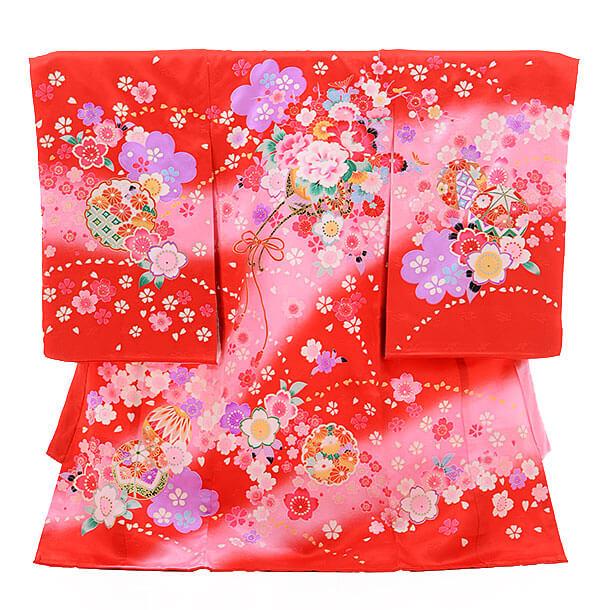 女児産着(お宮参り)1199 赤地 桜に花車