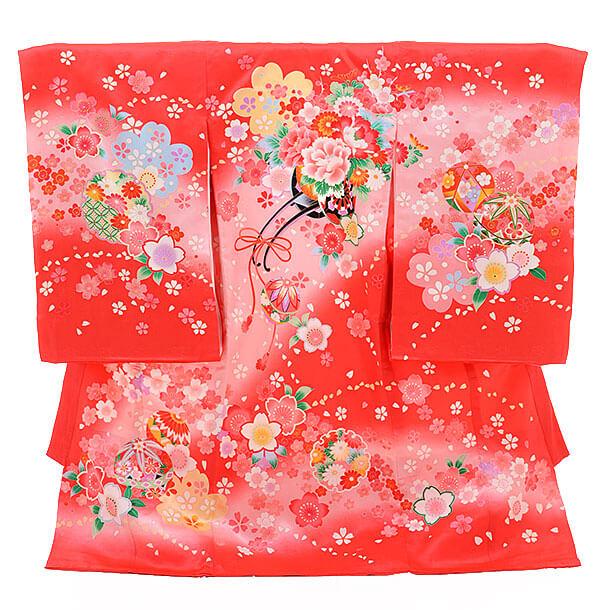 女児産着(お宮参り)1201 赤地 桜に花車