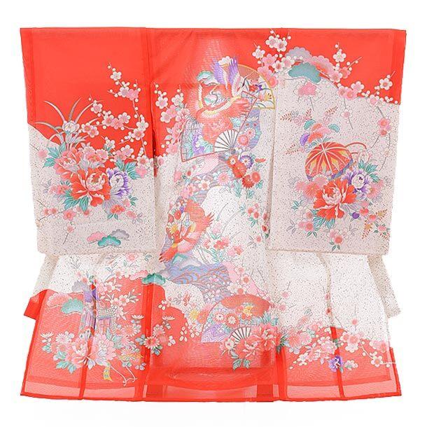 夏用 女児産着レンタル(お宮参り) 絽 1211 絽 赤地 扇に鶴