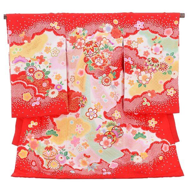 産着レンタル 女の子(お宮参り)1221 ChouChou赤 鞠