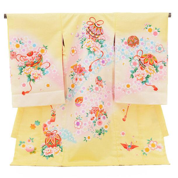 ▶女児産着(お宮参り)1226 黄色 鞠