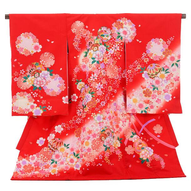 産着レンタル 女の子(お宮参り)1227 赤 花輪と鼓