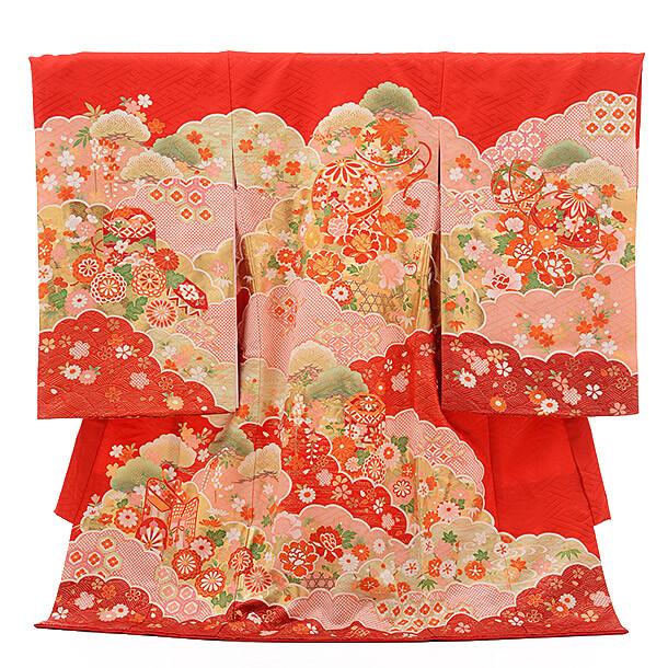 高級正絹産着レンタル 女の子(お宮参り)1235 赤地 まりと雲取り