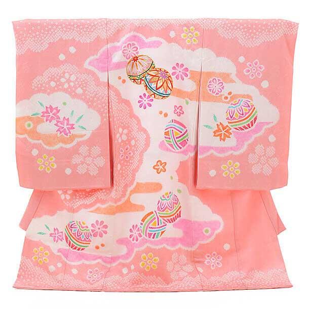 ▶女児産着(お宮参り)正絹 1246 ピンク地 本絞り 桜にまり