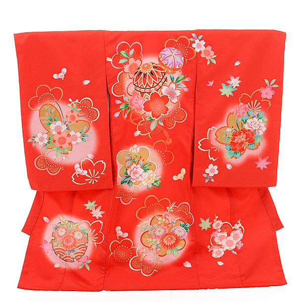 ▶女児産着(お宮参り)1256 赤地 まり 桜