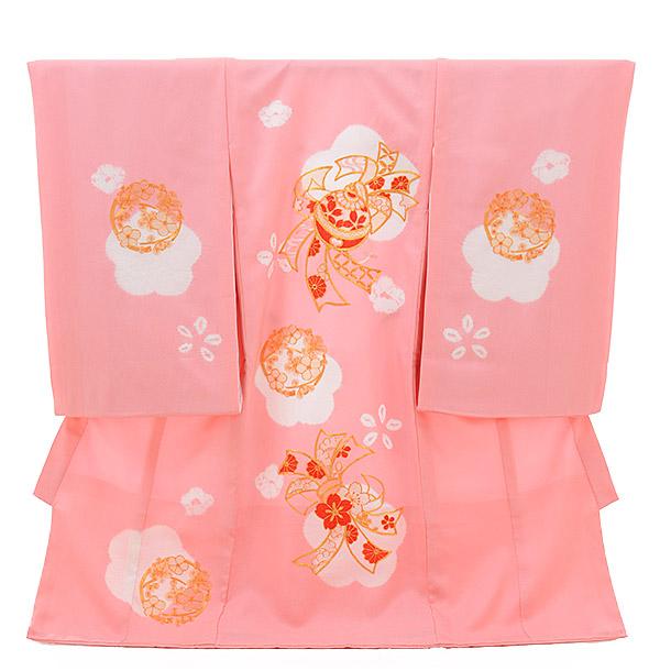 ▶女児産着(お宮参り)正絹 1276 ピンク地 梅のしめ鈴