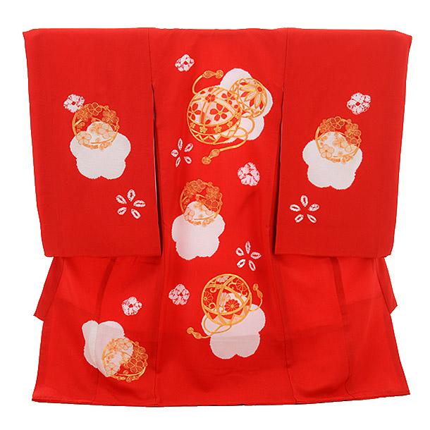 女児産着 お宮参り レンタル 正絹 1279 赤地 梅にまり