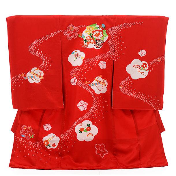 女児産着 お宮参り レンタル  正絹 1322 赤地 絞り花車 刺繍