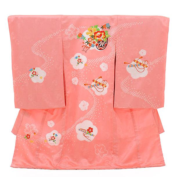 女児産着 お宮参り レンタル  正絹 1323 ピンク地 絞り花車 刺繍