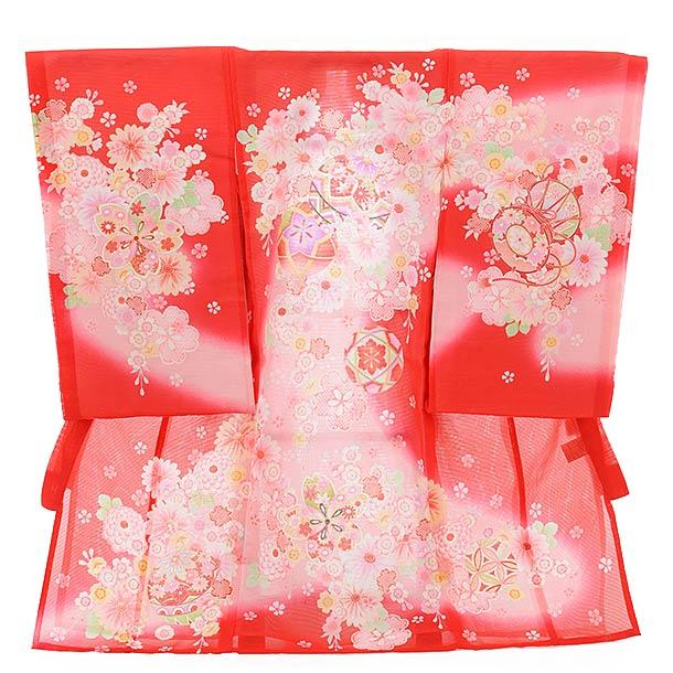 ▶女児産着(お宮参り)正絹 絽 1327 赤地 ぼかし まり 花