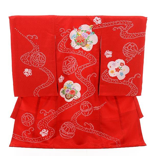 ▶女児産着(お宮参り)正絹 1354 赤地 梅に花車