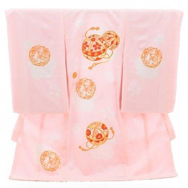 女児産着 お宮参り 正絹 1356 ピンク地 梅にまり ししゅう