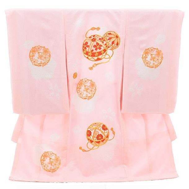 ▶女児産着(お宮参り)正絹 1356 ピンク地 梅にまり ししゅう