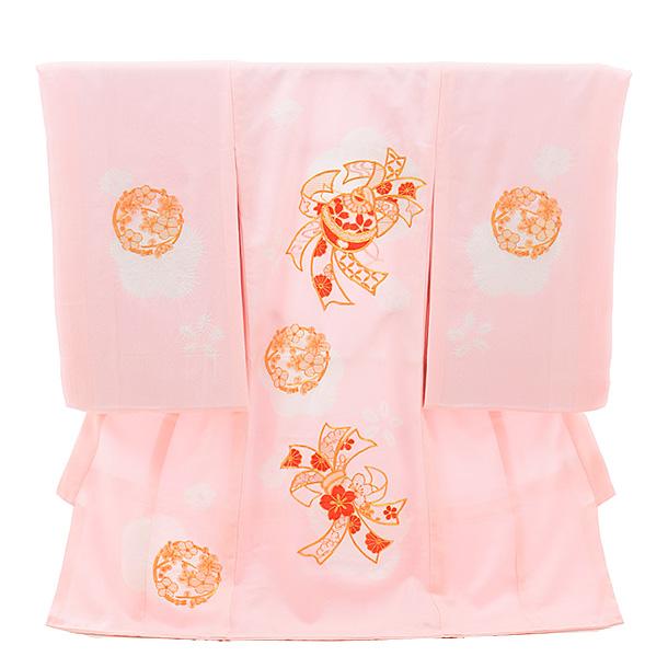 ▶女児産着(お宮参り)正絹 1357 ピンク地 束ねのしに鈴 ししゅう