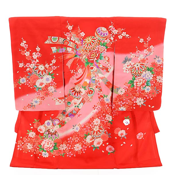 ▶女児産着(お宮参り)正絹 1358 赤地 束ねのし 花 まり
