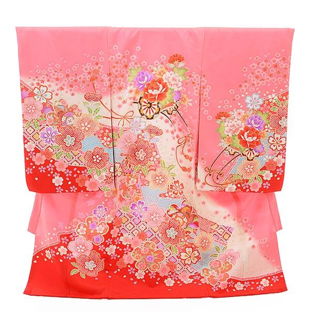 ▶女児産着(お宮参り)正絹 1359 ピンク地 裾赤 花車