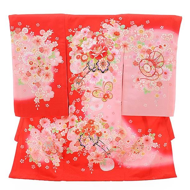 ▶女児産着(お宮参り)正絹 1360 赤地 ピンクぼかし 花車