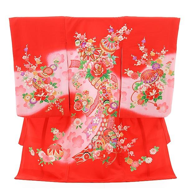▶女児産着(お宮参り)正絹 1362 赤地 ピンクぼかし 束ねのし 花まり