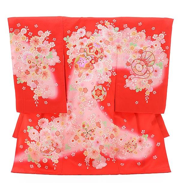▶女児産着(お宮参り)正絹 1363 赤地 ピンクぼかし 花 まり