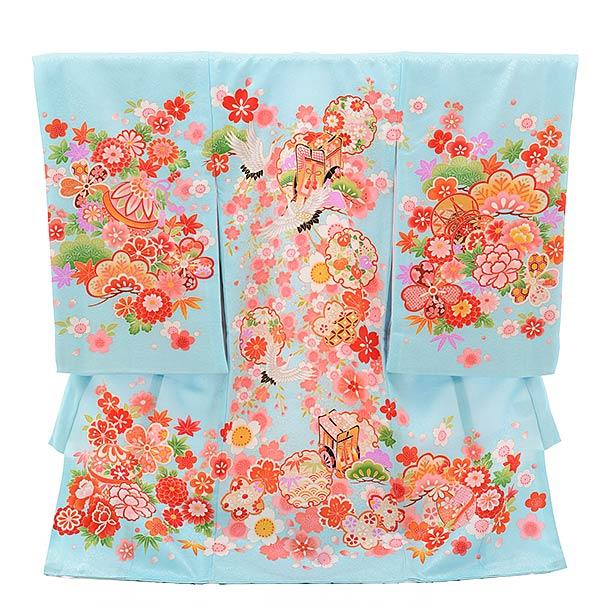 ▶女児産着(お宮参り)正絹 1366 水色地 雪輪 御所車 鶴