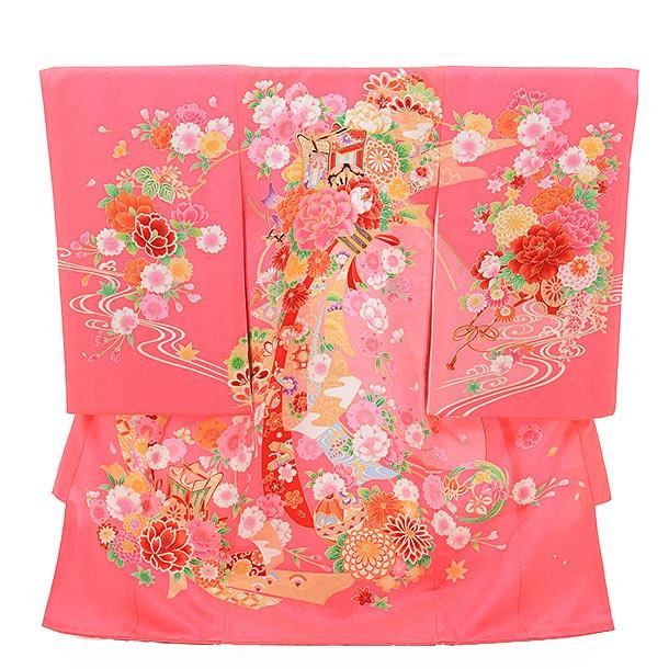 ▶女児産着(お宮参り)正絹 1368 ピンク地 束ねのし 御所車
