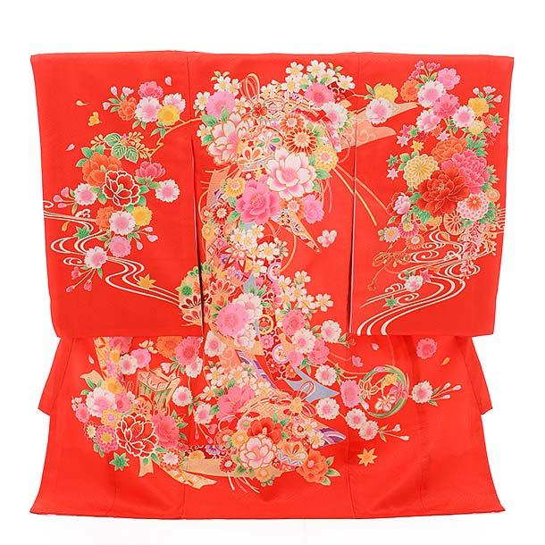 女児産着 お宮参り レンタル  正絹 1369 赤地 扇にまり 花