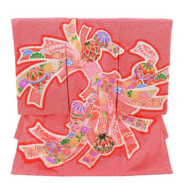 ▶女児産着(お宮参り)正絹 1372 赤地 鹿の子柄 束ねのしにまり