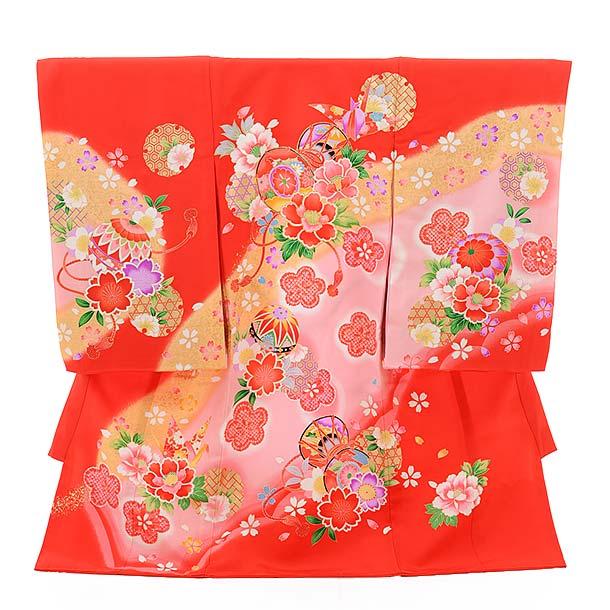 ▶女児産着(お宮参り)正絹 1373 赤地 鼓に折鶴