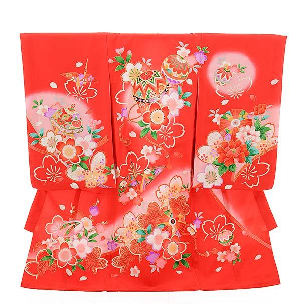 ▶女児産着(お宮参り)正絹 1374 赤地 桜 まり