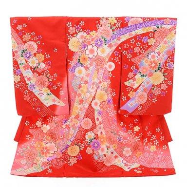 女児産着 お宮参り レンタル  1375 赤地 のしに花