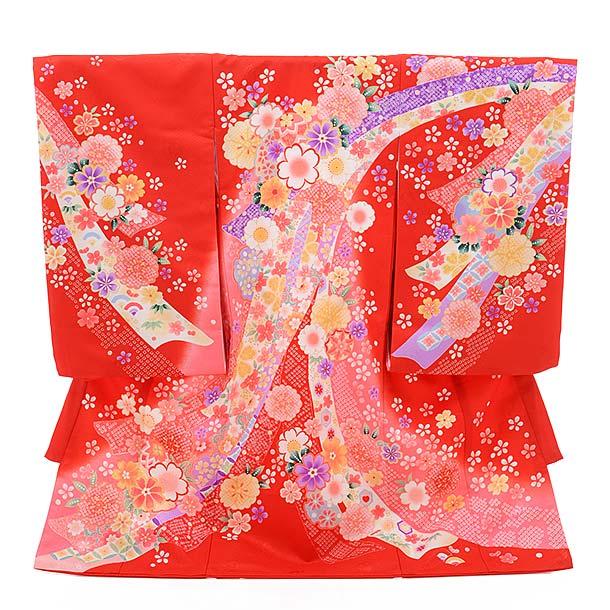 ▶女児産着(お宮参り)1375 赤地 のしに花