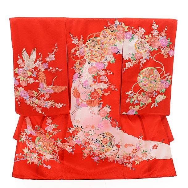 女児産着 お宮参り レンタル  正絹 1397 赤地 まりに鶴