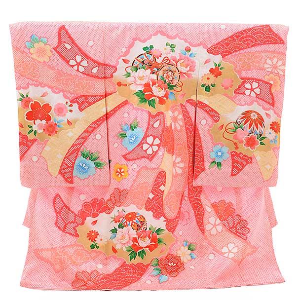 女児産着 お宮参り 正絹 1420 ピンク地 鹿の子柄 のしぼたん 鼓