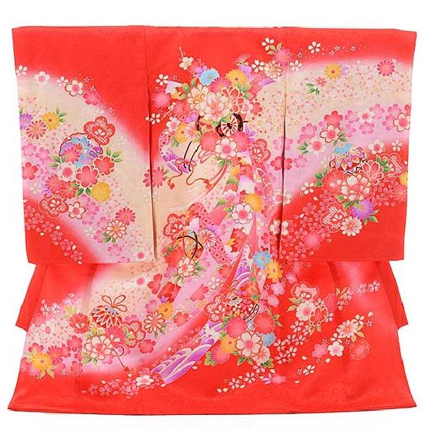 女児産着 お宮参り レンタル  正絹 1422 赤地 のしに花車