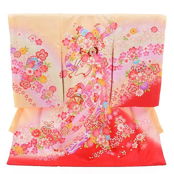 女児産着 お宮参り 正絹 1424 うす黄色地 裾赤ぼかし のしに花車
