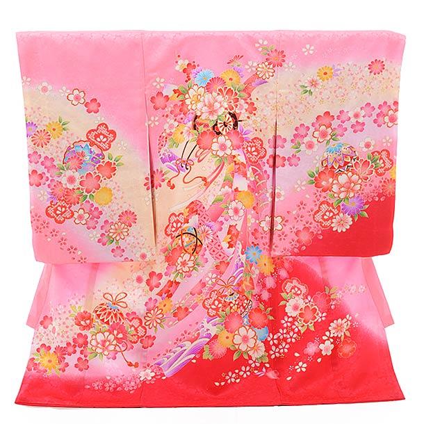女児産着 お宮参り 正絹 1425 ピンク地 裾濃ピンク のしに花車