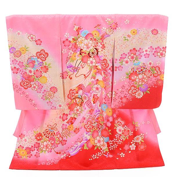 女児産着 お宮参り レンタル  正絹 1426 ピンク地 裾赤 のしに花車