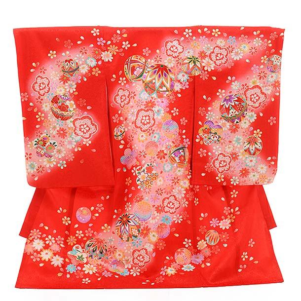 女児産着 お宮参り レンタル  正絹 1432 赤地 花にまり