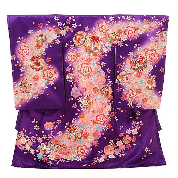女児産着 お宮参り レンタル  正絹 1433 パープル地 花にまり