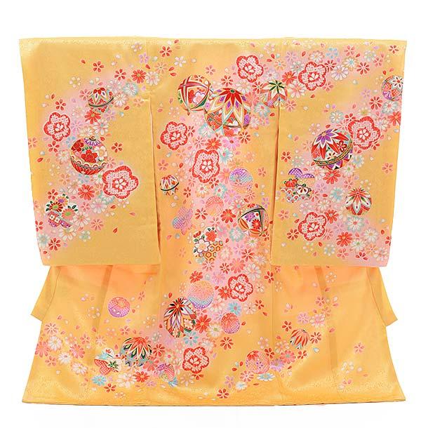女児産着 お宮参り レンタル  正絹 1434 うす黄色地 花にまり