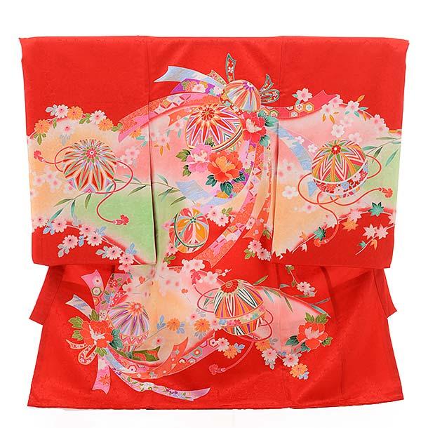 女児産着 お宮参り レンタル  正絹 1436 赤地 束ねのしにまり