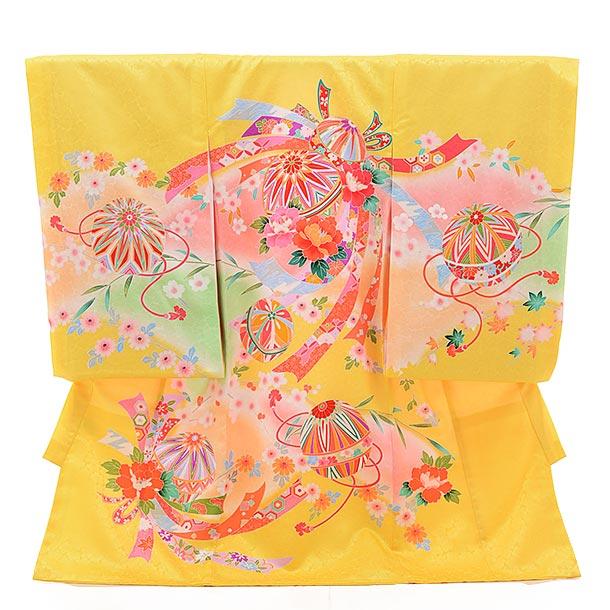女児産着 お宮参り レンタル  正絹 1437 黄色地 束ねのしにまり