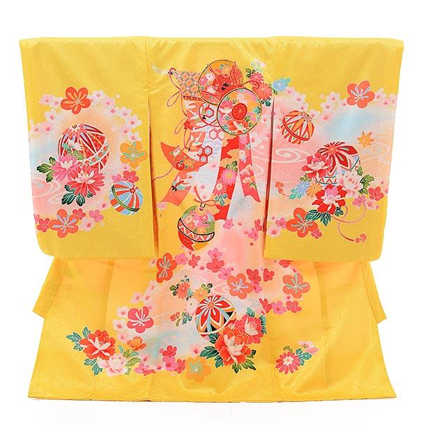 女児産着 お宮参り レンタル  正絹 1439 黄色地 束ねのしにまり
