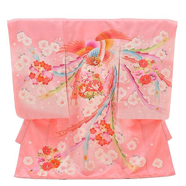 女児産着 お宮参り レンタル  正絹 1440 ピンク地 ぼたんに鳳凰