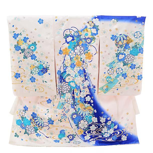 女児産着 お宮参り レンタル  正絹 1457 白地 ブルー 花流し