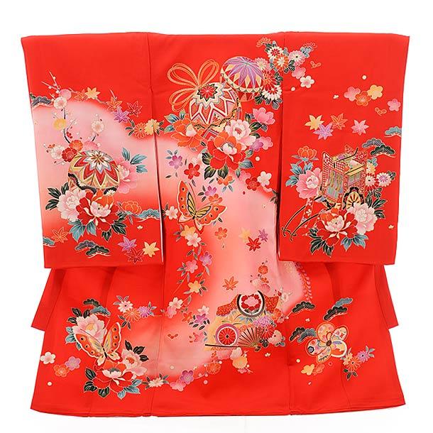 ▶女児産着(お宮参り)正絹 1469 赤地 まり 花 蝶