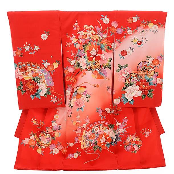 ▶女児産着(お宮参り)正絹 1471 花車におしどり