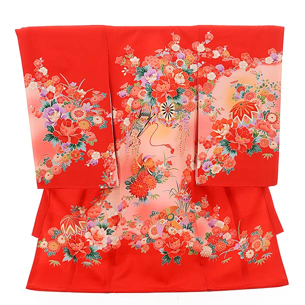 ▶女児産着(お宮参り)正絹 1472 花車