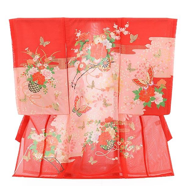 ▶女児産着(お宮参り)正絹 絽 1474 赤地 花車