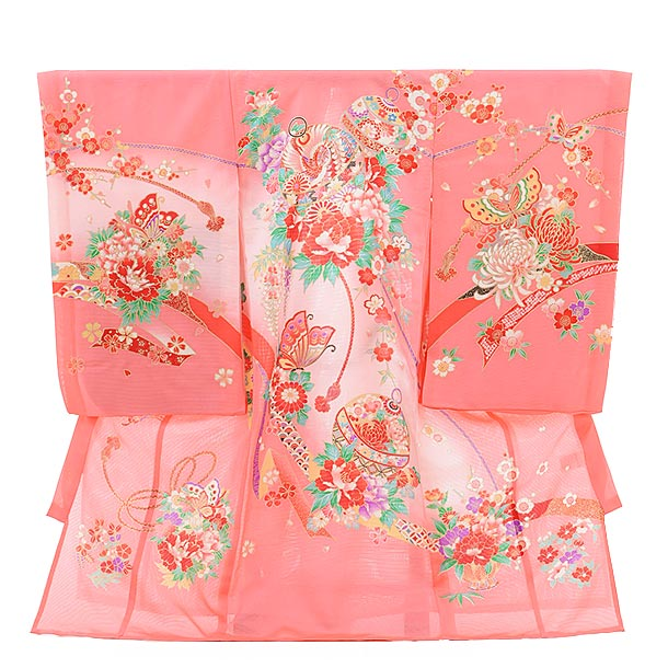 夏用 女児産着 お宮参り 正絹 絽 1475 ピンク地 牡丹に鈴